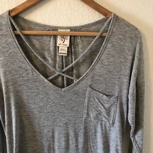 Grey High Low Long Sleeve